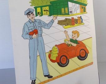 Vintage 1958 Mechanic School Poster - Educational Classroom Community Helpers Series  - Hayes School Publishing Co., USA