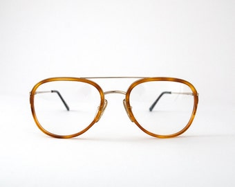 Vintage Vogart Police Eyeglasses. Yellow and Gold Tone Aviator Frames.