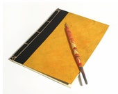 Japanese A5 Notebook Black and Vivid Orange. Deep Yellow Journal. Minimal Notebook. Zen Journal. Back to School. Men's Book. Minimalistic A5