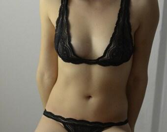 Panties - Lingerie  Black Sea // Undies Bra in Sheer French Lace handmade of Fransik