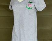 Women's Monogrammed Tshirt Dress, Monogrammed Dress, Women's Monogrammed Dress, Monogrammed Cover-Up, Embroidered Dress, Monogrammed Summer