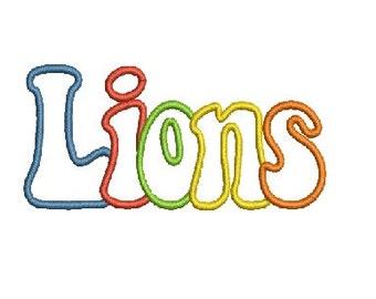 Lions Applique Machine Embroidery Design, Applique Letters, Applique Font, Instant Download