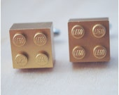 Metallic Gold Cufflinks With Lego Bricks - Father's Day - Wedding Gift - Fashion Cuff Links - Groomsmen Gift