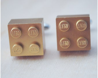Metallic Gold Cufflinks With Lego Bricks - Father's Day Gift - Wedding Fashion Cuff Links - Groomsmen Gift - Gift for Dad