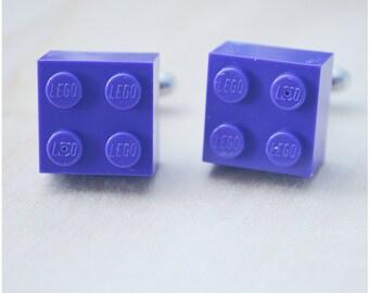Geeky Cufflinks With Lego Bricks - Father's Day - Deep Purple Cufflinks - Hipster Groomsmen Cuff Links