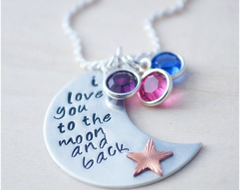 Mother's Day Necklace - I Love You to the Moon and Back - Birthstone Jewelry - Valentine's Day - Mixed Metal Jewelry Sterling Silver Copper