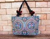 Lotus Flowers Large Tote Bag Hmong Vintage Fabrics