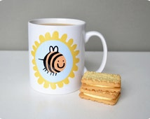 Betsy the Bee Mug in Yellow and Sky Blue