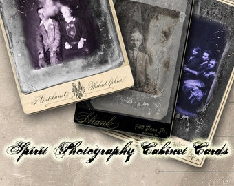 Spirit Photography Cabinet Cards Digital Collage Sheet - Halloween - Digital Oddities - Ghosts - Instant Download - Digital Curiosities