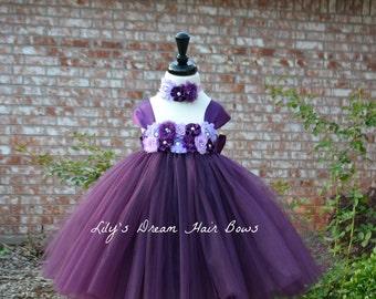 5%OFF deep purple flower girl dress, eggplant flower girl, eggplant tutu dress, dark purple tutu dress, shade of purple flower girl