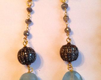 Diamond Aquamarine Earrings Labradorite Chain Vermeil Filegree Post