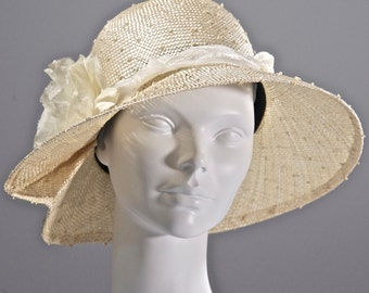 Natural Knotted Sisal Straw Hat,  Medium Cloche Hat Women, Kentucky Derby Hat