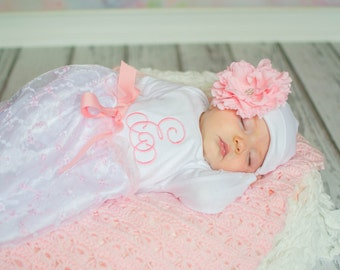 Baby Girl Coming Home Outfit, Take Home Outfit, Going Home Outfit, Baby Layette, Newborn Dress, Embroidered