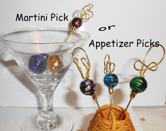 OOAK Martini Picks, Handcrafted Martini Olive Picks, Horsd'eouvre Picks, Appetizer Picks, APO326