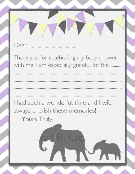 INSTANT DOWNLOAD - DIY Printable Mama and Baby Elephant Thank You Cards - Purple and Gray - Digital Design