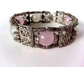 Tibetan Silver Ornate Round Pink & White Quartz Link Bracelet