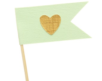 Mint Green and Gold Flag Heart Cupcake Toppers / Appetizer Picks / Food Picks /