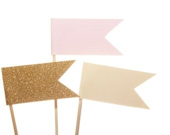 Pink Gold Ivory Flag Cupcake Toppers / Appetizer Picks / Food Picks / Pink Ivory Gold Party Decor