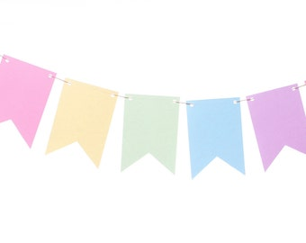 Pastel Rainbow Flag Banner - Pastel Bunting  - Rainbow Garland - Baby - Easter - Spring - Photography Prop - Flag Banner