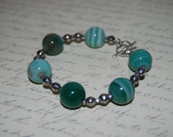 Natural Green  Agate  Stone Bracelet