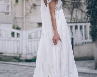 Morgane -> Wedding dress in pure silk and chiffon. Romantic, vintage inspired bridal gown. Boho wedding gown. Fairy dress. Elven dress.