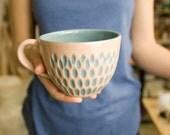 Ceramic stoneware cup coffee tea - unique handmade decorative textured kitchen pottery modern morning coffee - light pink.
