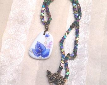 Handmade Porcelain Leaf Necklace W/ Unique Iridescent Blue Beads