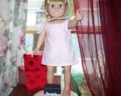 Pink & White Jumper Dress for 18 inch Doll               Item S-2296-18-G-02
