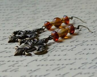 Fleur de Lis Antique Bronze Earth Tones Long Dangle Earrings Brown and Rust Drop Fashion Jewelry Autumn India PaisleyBeading Free Shipping