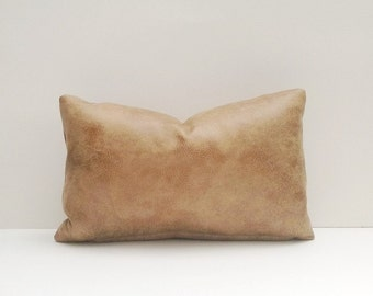 Decorative Faux Leather Pillow Cover Tan Brown Aged Look & Feel 14 x 24, 12 x 18, 16 x 16 Square, Lumbar, Many Sizes
