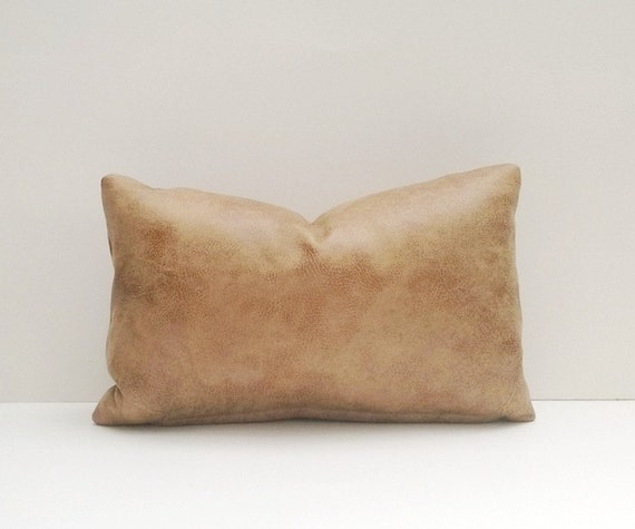 Decorative Faux Leather Pillows : Decorative Faux Leather Pillow Cover Tan Brown Aged by TheEAShop
