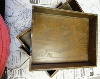 Vintage Wooden Filing Trays Lot of Three