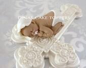 BAPTISM CHRISTENING Cake Topper Shower CROSS Pacifier Favor Centerpiece fondant gum paste pearl diaper bonnet