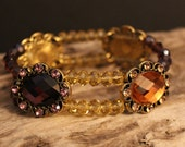 Bracelet Stretch - Golden Amber and Burgundy Jewels with Rhinestone Accents and Matching Swarovski Bicone Crystals