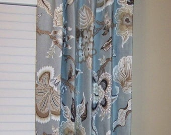 "Schumacher Hothouse Flowers - Drapery Panels up to 84"" Lined and Interlined"