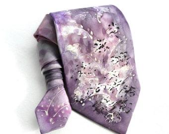 Hand Painted Silk Tie. Purple Tie. Handmade Red Pink Tie. OOAK Tie. Anniversary Gift for Him. Birthday Gift. Mens Ties. MADEtoORDER