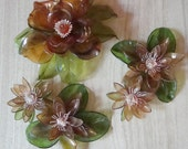 60s Cellulose/Acetate Mid Century Lotus & Magnolia Flowers ~ Amber Wall or Table Decor