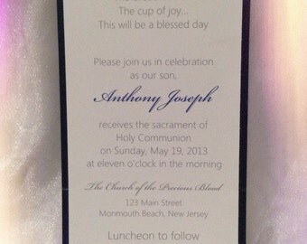 BAPTISM - COMMUNION -CONFIRMATION Invitations-  All Copy, Card Colors and Fonts Personalized