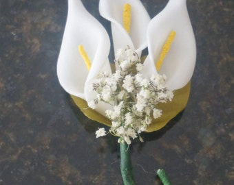 calla lily ring bearer small groomsmen groom boutonniere