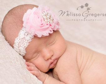 Baby headband, Pearl Pink and Ivory shabby chic headband, newborn headband, infant headbands, baptism, christening, newborn photo ptop