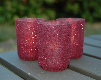 Votive holders in Garnet glitter