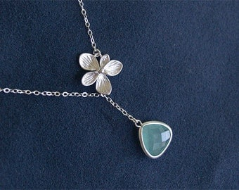Aqua Blue Necklace with Blossom - Silver Flower Necklace  - Sterling Silver Chain - Aqua Blue - Aqua Blue Bridesmaid Jewelry Gift