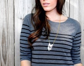 Chevron Statement Necklace // Gold and Silver Bib Necklace