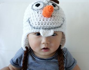 Olaf the Snowman Hat, Snowman Baby Hat, Baby Hat, photo prop, Inspired by Frozen