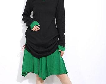 Black linen Lotus 2-in-1 set  dress C306
