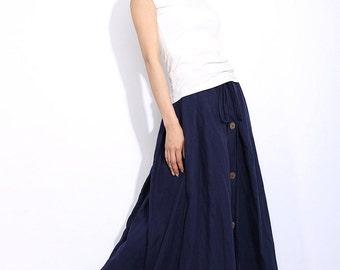 navy blue long linen skirt for women C333