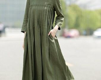 Green Linen Dress, linen dress, Casual dress, Pleated dress, dress, womens dresses, maxi dress, long dress, linen dresses pockets  C358