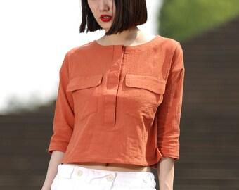 Loose round neck short sleeve women cotton shirt