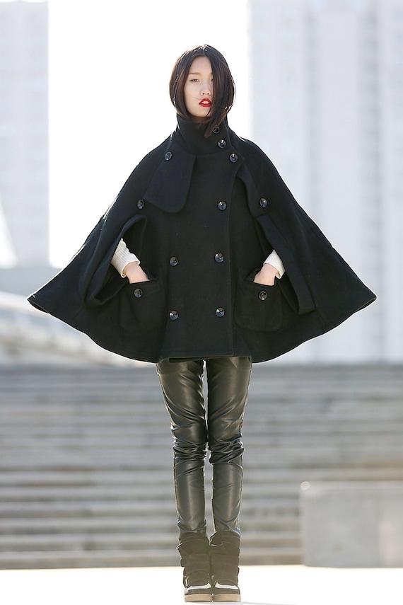 Cape coat Black cape Cape jacket wool cloak women ponchos