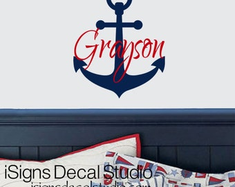 NAUTICAL Wall Decal, Anchor Decal, Custom Name Decal, Vinyl Wall Decals, Nautical Nursery, Boat Anchor Decal Sailing Decal